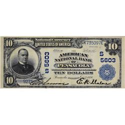 Pensacola, Florida. American NB. Fr. 633. 1902 $10 Plain Back. Charter 5603. Choice Very Fine.
