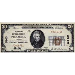 Pensacola, Florida. American NB. Fr. 1802-1. 1929 $20 Type I. Charter 5603. About Uncirculated.