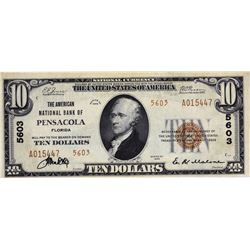 Pensacola, Florida. American NB. Fr. 1801-2. 1929 $10 Type II. Charter 5603. Choice Very Fine.