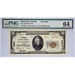 Pensacola, Florida. American NB. Fr. 1802-2. 1929 $20 Type II. Charter 5603. PMG Choice Uncirculated