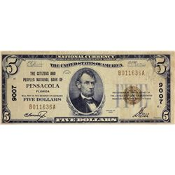 Pensacola, Florida. Citizens and Peoples NB. Fr. 1800-1. 1929 $5 Type I. Charter 9007. Very Fine.
