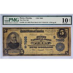 Perry, Florida. FNB. Fr. 599. 1902 $5 Plain Back. Charter 7865. PMG Very Good 10 Net. Repaired.