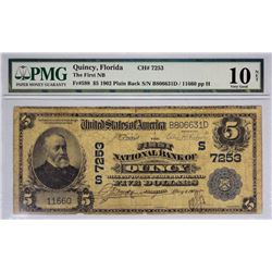Quincy, Florida. FNB. Fr. 598. 1902 $5 Plain Back. Charter 7253. PMG Very Good 10 Net. Rust.