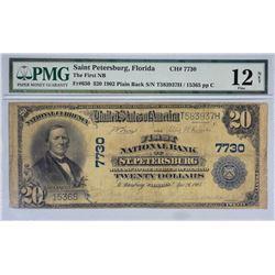 St. Petersburg, Florida. FNB. Fr. 650. 1902 $20 Plain Back. Charter 7730. PMG Fine 12 Net. Edge Dama