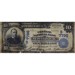 St. Petersburg, Florida. Central NB. Fr. 627. 1902 $10 Plain Back. Charter 7796. Very Good.