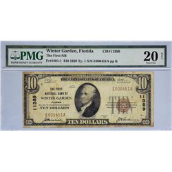Winter Garden, Florida. FNB. Fr. 1801-1. 1929 $10 Type 1. Charter 11389. PMG Very Fine 20 Net. Stain
