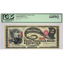 Lincoln, Illinois. The First National Bank. 1865 $2 Original Series, Charter 2126. PCGS Very Choice