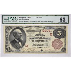 Bucyrus, Ohio. Second NB. Fr. 467. 1882 $5 Brown Back. Charter 3274. PMG Choice Uncirculated 63.