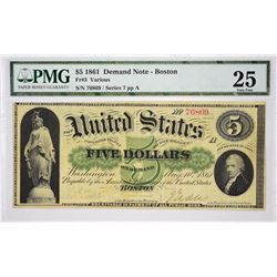 Fr. 3. 1861 $5 Demand Note. PMG Very Fine 25.