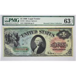 Fr. 18. 1869 $1 Legal Tender. PMG Choice Uncirculated 63 EPQ.