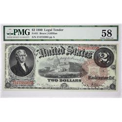 Fr. 51. 1880 $2 Legal Tender. PMG Choice About Uncirculated 58.