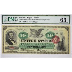 Fr. 95b. 1863 $10 Legal Tender. PMG Choice Uncirculated 63.