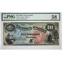 Fr. 96. 1869 $10 Legal Tender. Choice About Uncirculated 58.