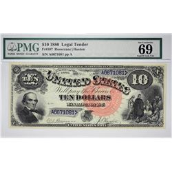 Fr. 107. 1880 $10 Legal Tender Note. PMG Superb Gem Uncirculated 69 EPQ.