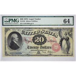 Fr. 129. 1878 $20 Legal Tender. PMG Choice Uncirculated 64.