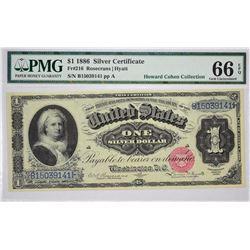 Fr. 216. 1886 $1 Silver Certificate. PMG Gem Uncirculated 66 EPQ.