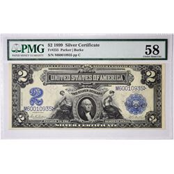 Fr. 255. 1899 $2 Silver Certificate. PMG Choice About Uncirculated 58.