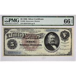 Fr. 263. 1886 $5 Silver Certificate. PMG Gem Uncirculated 66 EPQ.