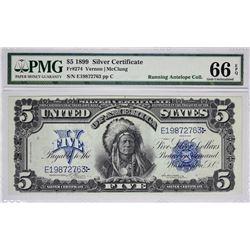 Fr. 274. 1899 $5 Silver Certificate. PMG Gem Uncirculated 66 EPQ.