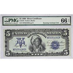 Fr. 278. 1899 $5 Silver Certificate. PMG Gem Uncirculated 66 EPQ.