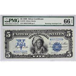 Fr. 279. 1899 $5 Silver Certificate. PMG Gem Uncirculated 66 EPQ.