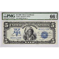 Fr. 281. 1899 $5 Silver Certificate. PMG Gem Uncirculated 66 EPQ.