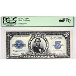 Fr. 282. 1923 $5 Silver Certificate. PCGS Gem New 66 PPQ.