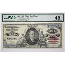 Fr. 318. 1891 $20 Silver Certificate. PMG Choice Extremely Fine 45.