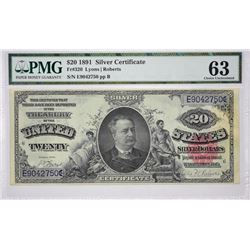 Fr. 320. 1891 $20 Silver Certificate. PMG Choice Uncirculated 63.