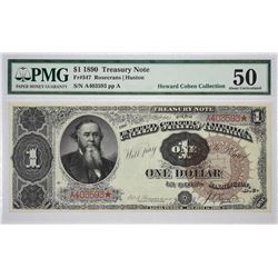 Fr. 347. 1890 $1 Treasury Note. PMG About Uncirculated 50.