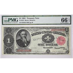 Fr. 352. 1891 $1 Treasury Note. PMG Gem Uncirculated 66 EPQ.
