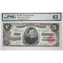 Fr. 364. 1891 $5 Treasury Note. PMG Choice Uncirculated 63.