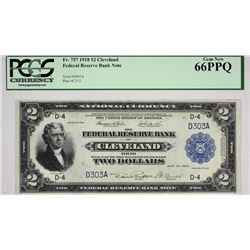 Fr. 757. 1918 $2 Federal Reserve Bank Note. Cleveland. PCGS Gem New 66 PPQ.
