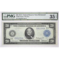 Fr. 980. 1914 $20 Federal Reserve Note. Richmond. PMG Choice Very Fine 35 EPQ.