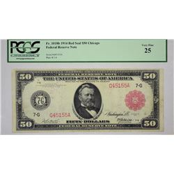 Fr. 1018b, 1914 $50 Federal Reserve Note, Red Seal. Chicago. PCGS Very Fine 25.