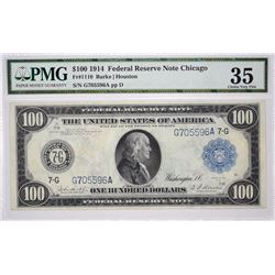 Fr. 1110. 1914 $100 Federal Reserve Note. Chicago. PMG Choice Very Fine 35.