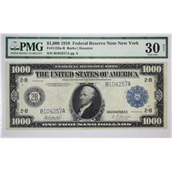 Fr. 1133a. 1918 $1000 Federal Reserve Note. New York. PMG Very Fine 30 Net. Restoration.