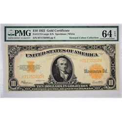Fr. 1173. 1922 $10 Gold Certificate. PMG Choice Uncirculated 64 EPQ.