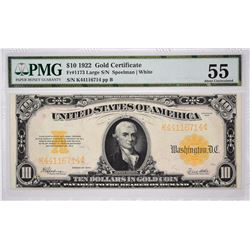 Fr. 1173. 1922 $10 Gold Certificate. PMG About Uncirculated 55.