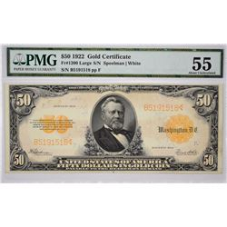 Fr. 1200. 1922 $50 Gold Certificate. PMG About Uncirculated 55.