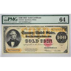 Fr. 1215. 1922 $100 Gold Certificate. PMG Choice Uncirculated 64.