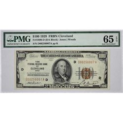 Fr. 1890-D. 1929 $100 Federal Reserve Bank Note. Cleveland. PMG Gem Uncirculated 65 EPQ.