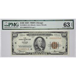Fr. 1890-G. 1929 $100 Federal Reserve Bank Note. Chicago. PMG Gem Uncirculated 63 EPQ.
