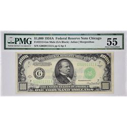 Fr. 2212-G. 1934A $1000 Federal Reserve Note. Chicago. PMG About Uncirculated 55.