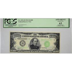 Fr. 2231-B. 1934 $10,000 Federal Reserve Note. New York. PCGS Apparent Choice New 63. Pinholes Fille