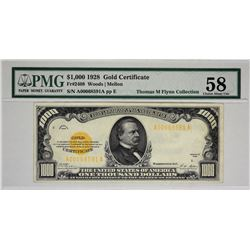 Fr. 2408. 1928 $1,000 Gold Certificate. PMG Choice About Uncirculated 58.