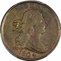 1804 B-10, C-13. Plain 4, No Stems. Rarity-1. AU-58 PCGS.