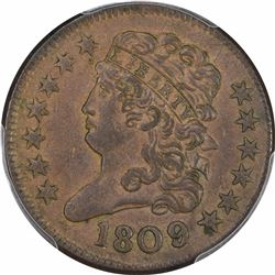 1809 Over Inverted 9 (1809/6 Traditionally). B-5, C-5. Rarity-1. AU-55 PCGS.