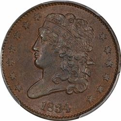 1834 B-1, C-1. Rarity-1. MS-62 BN PCGS.