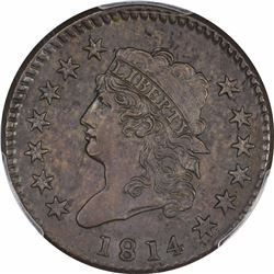 1814 S-294. Crosslet 4. Rarity-1. Genuine – Cleaning – AU Details PCGS.